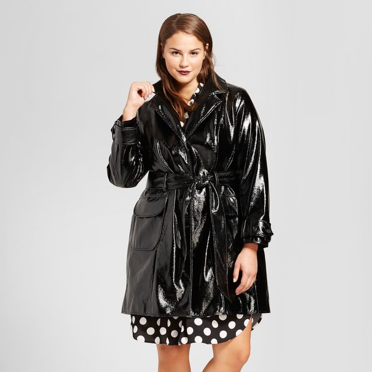Women's Plus Size Patent Trench Coat - Who What Wear Black 1X