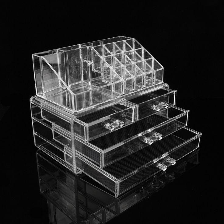 Cheap Promozione!  Acrilico box scatole di trucco acrilico trasparente per il trucco di trasporto dei monili della cassa della scatola trasparente acrilico scatole, vendita a buon mercato!, Compro Qualità Kit di strumenti di trucco direttamente da fornitori della Cina: 1 Piece New Plum Blossom Design Cosmetic Organizer Makeup Drawers Display Rack Cabinet Free ShippingUSD 4.79/pieceCheap