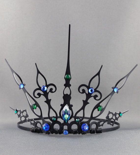 Pavo real Gothique - gótico corona gótica Tiara sirena corona sirena Tiara Reina corona mal reina malvada diadema filigrana corona Corona negra