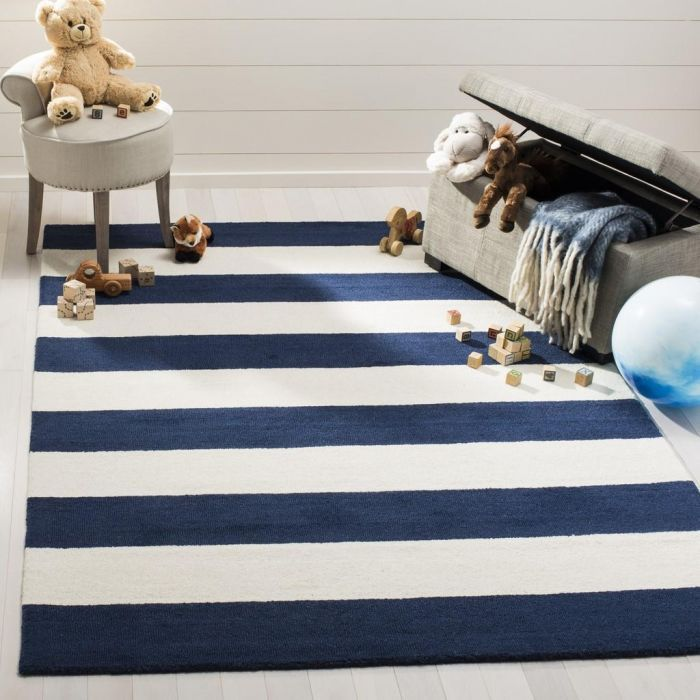 Navy Blue White Striped Area Rugs Rugs In Living Room Coastal