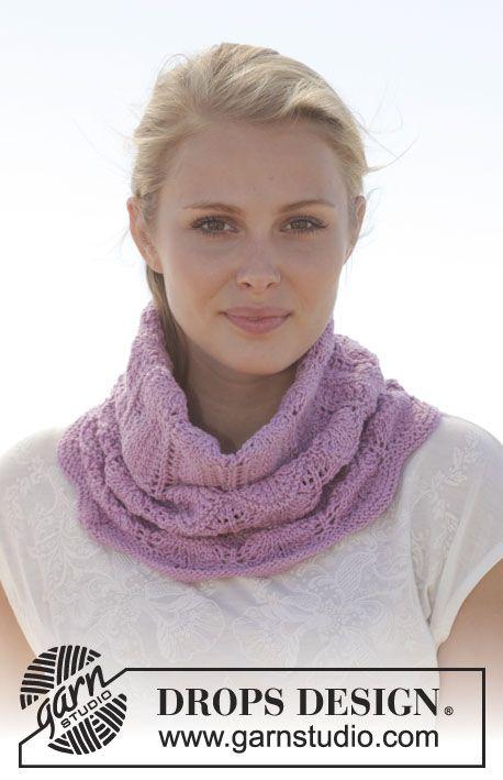Strikket DROPS hals i Cotton Merino med hullmønster. Gratis oppskrifter fra DROPS Design.