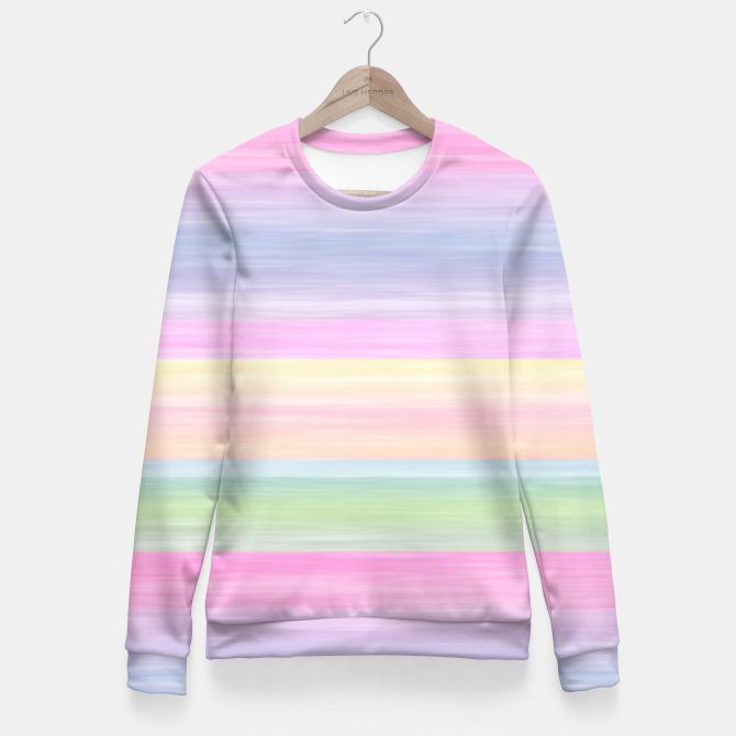 Pastel Rainbow Horizontal  Stripes Fitted Waist Sweater
