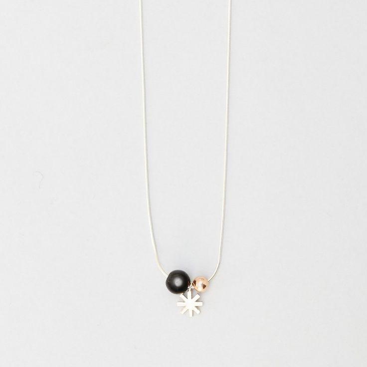 Orbit Necklace - Black Onyx   Rose Gold