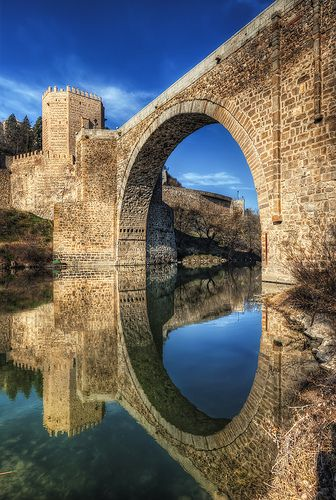 Toledo - Bridge in Toledo, Spain. http://www.lonelyplanet.com/spain/castilla-la-mancha/toledo