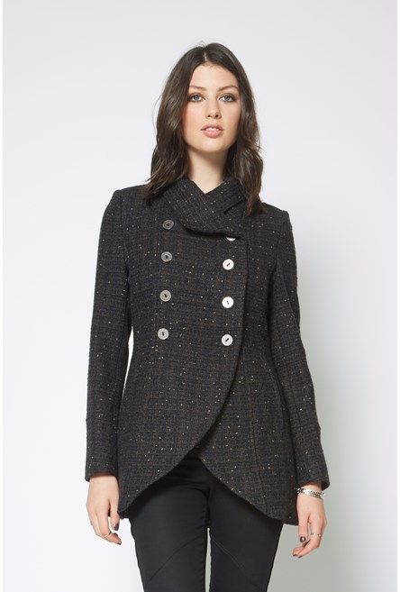 Military Hi Lo Hem Jacket. Very flattering for pear figures and those who wear lots of skirts/dresses.