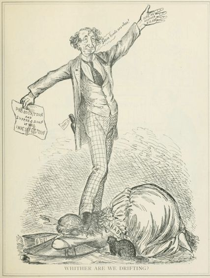 """A drunk Macdonald trampling over Canada with """"Send me another $10,000"""" written on his palm. (1873)."""