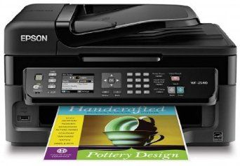 Epson WorkForce Wireless All In One Color Inkjet Printer Copier Scanner ADF Fax Prints From Tablet Smartphone AirPrint Compatible