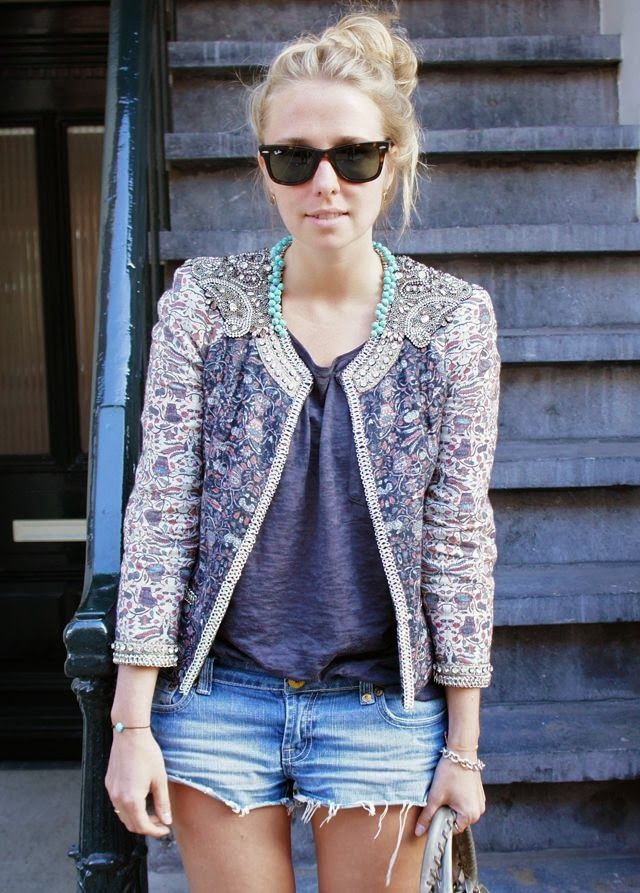 Embroidered 3/4 Sleeves Blazer With Shorts and Ray Bans