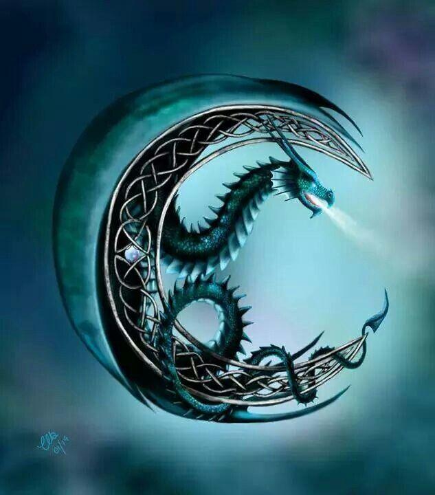 Moon dragon tattoo idea