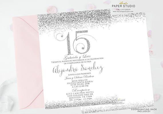 Silver Quinceanera, Sweet 16 Invite, Quinceanera Invite, Confetti Birthday, Silver  Invitation, Glitter Invitation, Confetti Invite, BDQ092