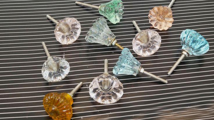 Different Design & Color Flower Assorted Glass Drawer Pulls....
