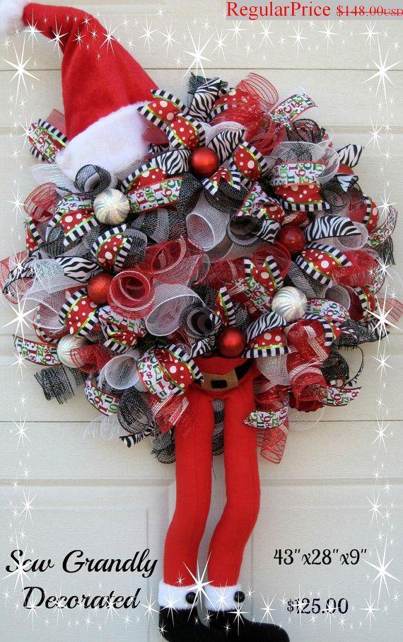RESERVADO para Lauren Creech - venta de Navidad Final: Guirnalda de Navidad guirnalda - Santa Claus Wreath - carácter de malla de Deco                                                                                                                                                                                 Más
