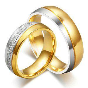 AnazoZ Couple Bague Femme Titane Acier Inoxydable Classique Anneau Bague Mariage Promise Pavé Cristal CZ 6mm Taille 49