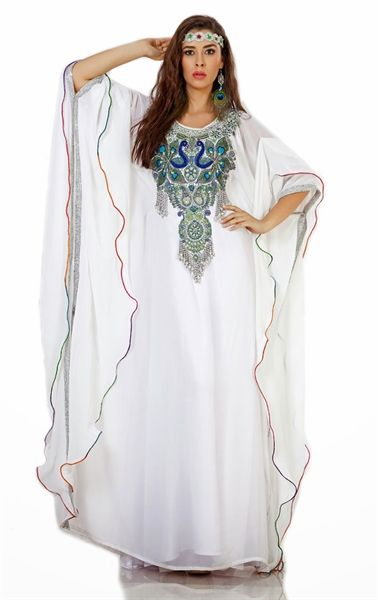 Picture of Exquisite White Arabic Mexi Kaftan Dress