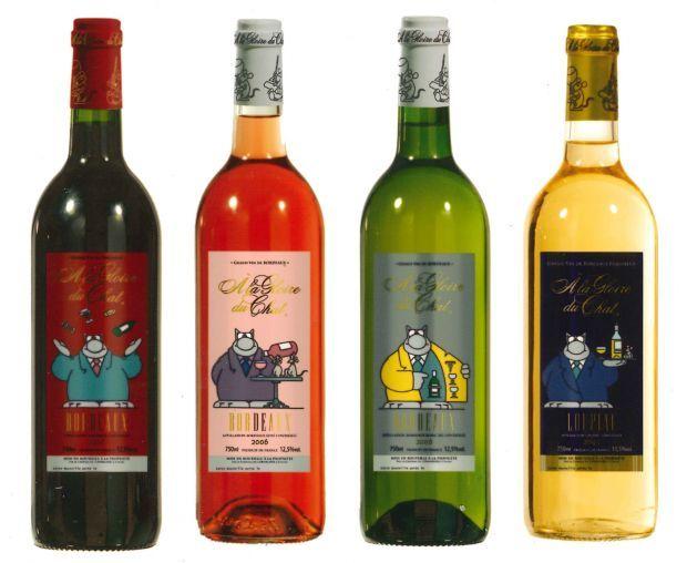 Création de la gamme et des étiquettes par CHAMP de PUB pour le Château de l'Orangerie sous licence avec Le Chat de Philippe Geluck. A smile for all the wine loving packaging peeps. PD
