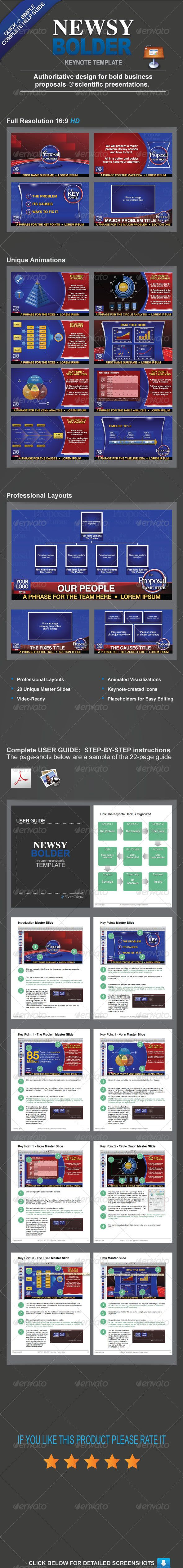 Newsy Bolder   Animated Keynote Template  #GraphicRiver         Overview  NEWSY BOLDER Keynote Presentation with custom Keynote-native graphic elements and animated visualizations. All you need is Keynote. All graphic elements are created in Keynote so it's the only application required. Ideal for business, science and personal use. Create your own presentation in 20-30 minutes using the 20 easy-to-use Master Slides and complete user guide.    Features   All Keynote-created Graphics  No…