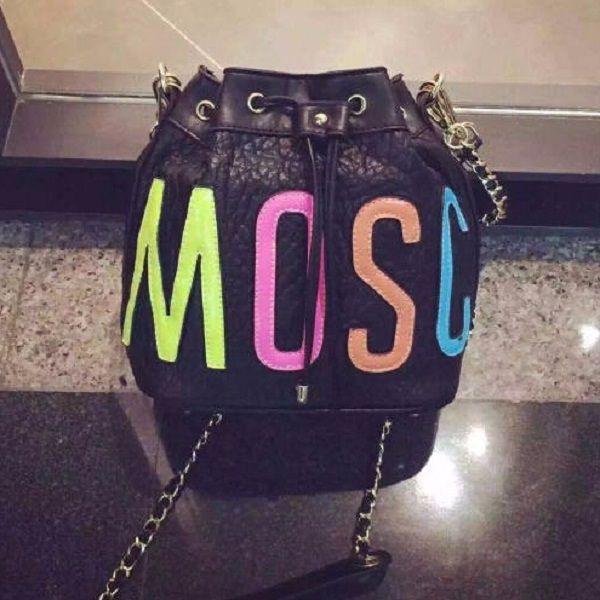 MOSCHINO 20$ Women Colorful Letter Bucket Bag Famous Designer Fashion Shoulder Bag Drawstring Women Handbag Small Crossbody Messenger bag