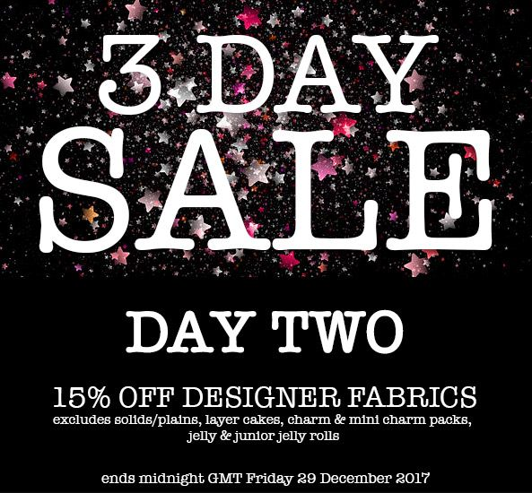 DAY 2 -  29th Dec - 15%-OFF all Designer Fabric not already on Sale (excludes Solids/Plains, Layer Cakes, Charm and Mini-Charm Packs, Jelly and Junior Jelly Rolls)  Just enter Discount Code DAY2 at the online checkout. http://www.eclecticmaker.co.uk/fabric.html #sewing #quilting #sale #newyear #handmade #fabric