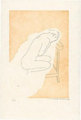Bare Stripped Bride - Marcel Duchamp, etching with aquatint; 1968. From the series 'The Large Glass and Related Works, with Nine Etchings by Marcel Duchamp on the Theme of the Lovers'