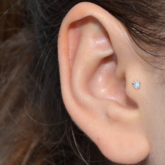 21e5e328b 2mm White Opal TRAGUS STUD / Silver nose piercing, helix stud 16g,  cartilage hoop, nose ring, tragus in 2019 | Products | Tragus, Forward  helix earrings, ...