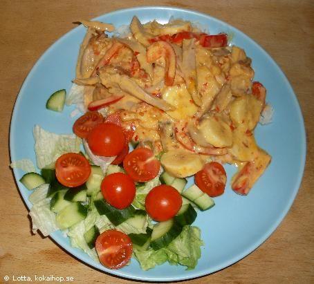 Recept - Indonesisk kycklinggratäng (byt ut grädden till Milda matextra 4%)