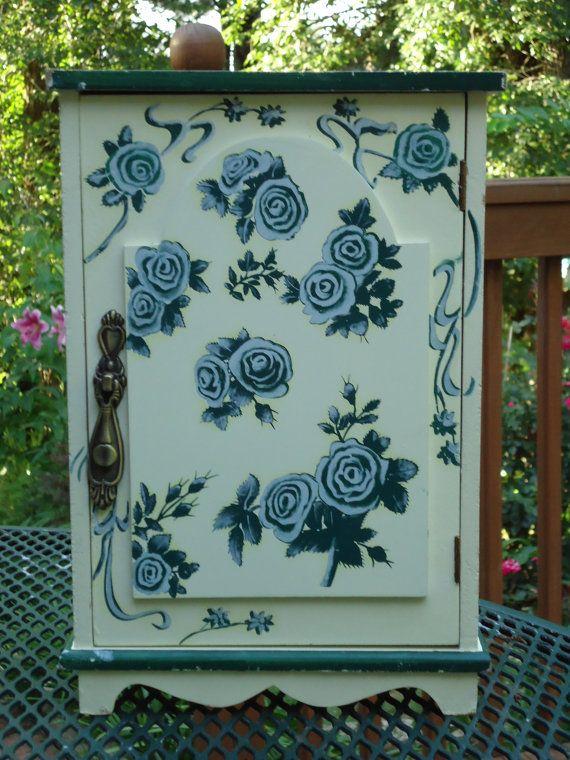 Vintage Storage Painted Cabinet Wood Floral by DieterFinds on Etsy