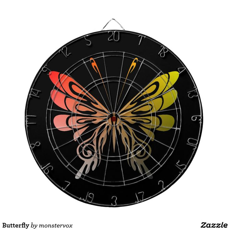 Butterfly Dartboard With Darts #Butterfly #Insect #Nature #Environment #Flower #Game #Sports #Darts #Dartboard