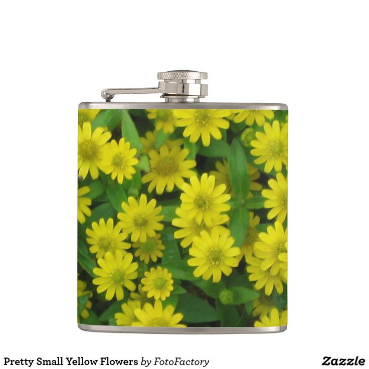 Pretty Small Yellow Flowers Hip Flask Pretty blanket of small yellow wildflowers.