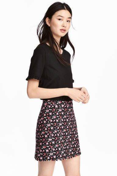 Patterned skirt - Black/Floral - Ladies | H&M GB 1