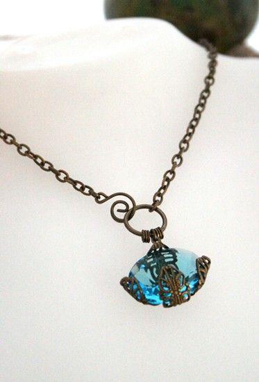 Lotus Blossom in Aquamarine - Vintage-Revival Czech Glass Necklace. $38.00, via Etsy.