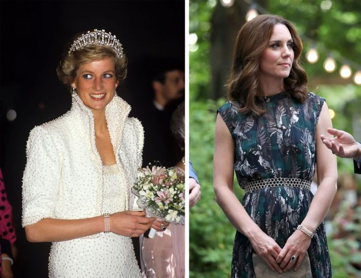 During the royal tour of Germany in July, the Duchess of Cambridge was spotted wearing an elegant two-tiered pearl bracelet.  Its original owner – Princess Diana – first donned the piece to the Birthright Ball in 1989. It also proved to be the perfect accessory to her memorable high-collared 'Elvis' dress created by royal favourite Catherine Walker.  The bracelet's designer, Nigel Milne, was shocked to see that his creation was still being worn decades after its original outing.  'I am…