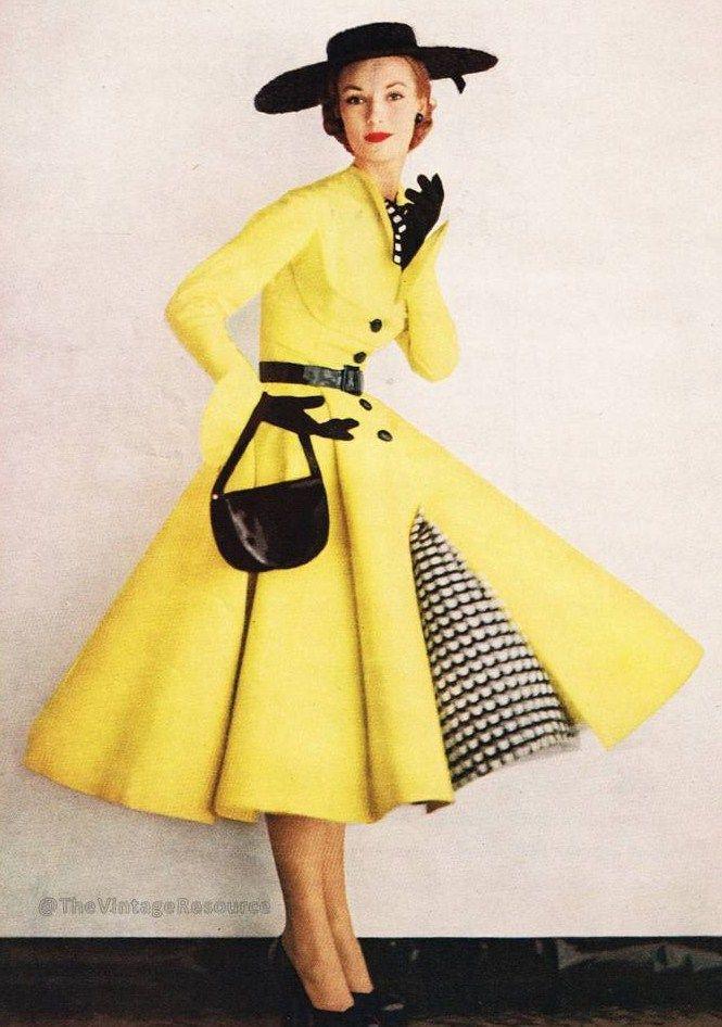 Kasper - 1952 vintage fashion style yellow dress full skirt black white plaid checks accents hat shoes belt purse 50s color photo print ad model magazine                                                                                                                                                      More