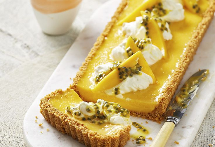 With a crumbling biscuit base, and whipped cream & passionfruit topping, this tart has a sweet mango curd filling – ideal for a flavour-bursting morning tea.