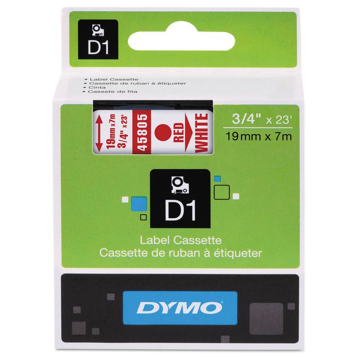Dymo D1 High-Performance Removable Label Tape 3/4-inch x 23-feet Red on