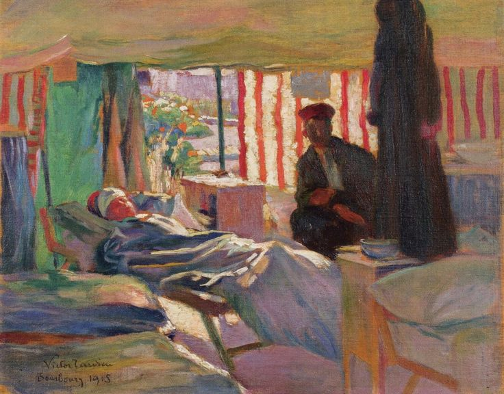 'The Camp in the Oatfield' 1915. Ten oil paintings by Victor Tardieu (1870-1937) record the tented field hospital established and run by Millicent, Duchess of Sutherland (1867-1955) at Bourbourg, twelve miles south-west of Dunkirk. Persephone Post | Persephone Books - Part 12