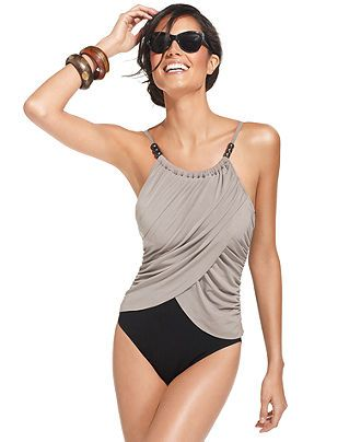 Magicsuit Swimsuit, Spaghetti-Strap Draped Colorblock One-Piece - Womens Swimwear - Macy's....gotta have this one