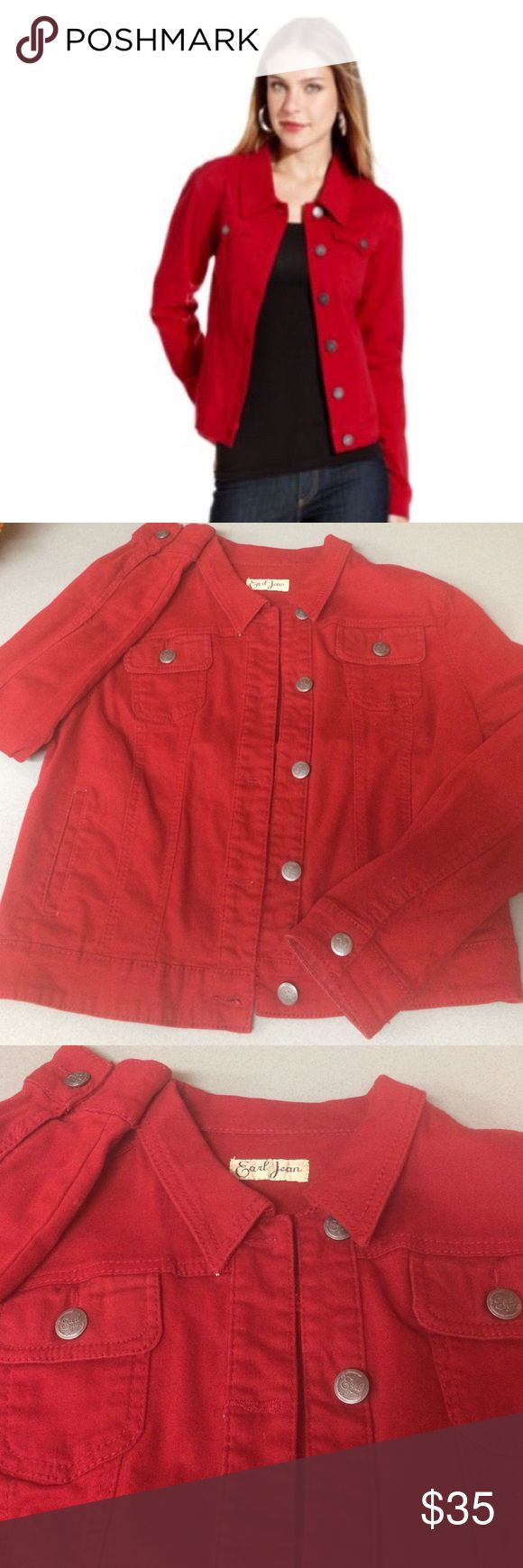 Red denim jacket Great jacket that sets off any outfit! Jackets & Coats