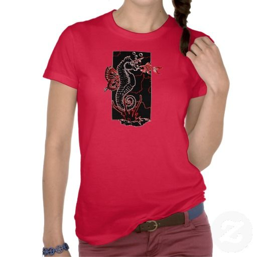 Bubbles_black/red T-shirt #fashion #t-shirts #red #seahorse