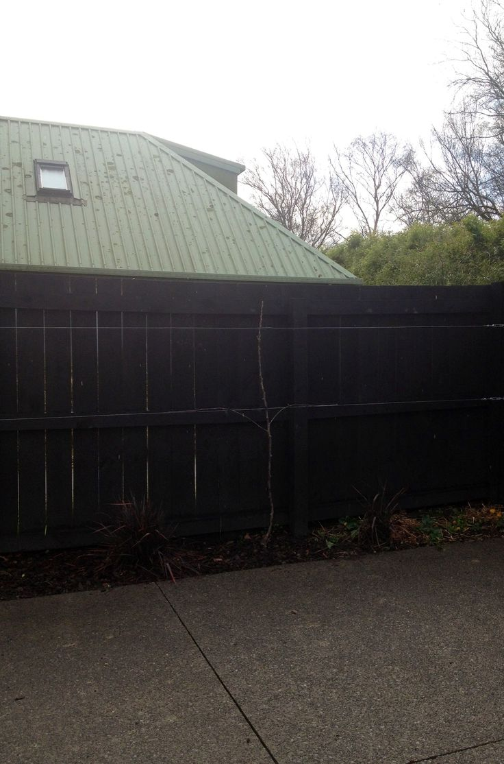 Stage two - espalier fruit tree wire on the north fence of the courtyard. BSB Christchurch New Zealand autumn 2013