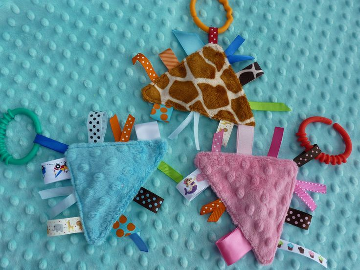 Pip Squeak Minky Ribbon Toy- CHOOSE ONE- lots of colors available. $4.75, via Etsy.
