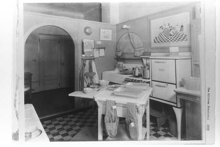1920's kitchens-You can thank Lillian Gilbreath for the standardization of counter heights, she decided on the correct height. That trash can with the pedal to open the lid? That was one of her ideas too.
