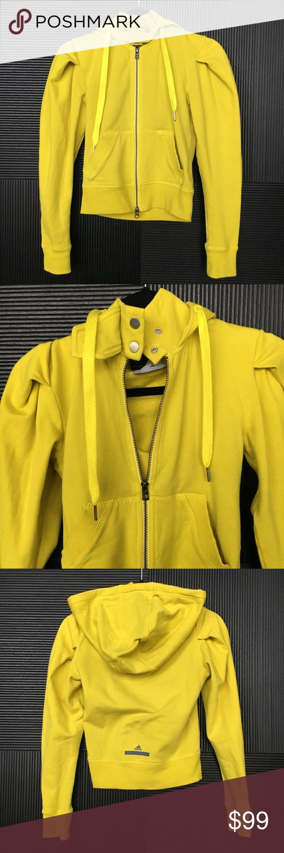 Stella McCartney x Adidas Zip Up Hoodie in Yellow Amazing detailing and design sweatshirt, zip up, snap buttons, draw string hoodie, neon yellow Adidas by Stella McCartney Tops Sweatshirts & Hoodies