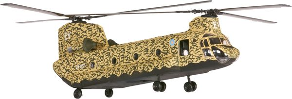A veteran of the first Gulf War of 1991, this 1:72 scale Chinook served with Special Air Service Operations, which included behind enemy lines observation of Iraqi supply routes and the destruction of both underground communications cables and Scud missiles. Features of the model include working rotors, detailed interior, glazed portholes and accurately observed Desert Storm camouflage. Model Number AA34209