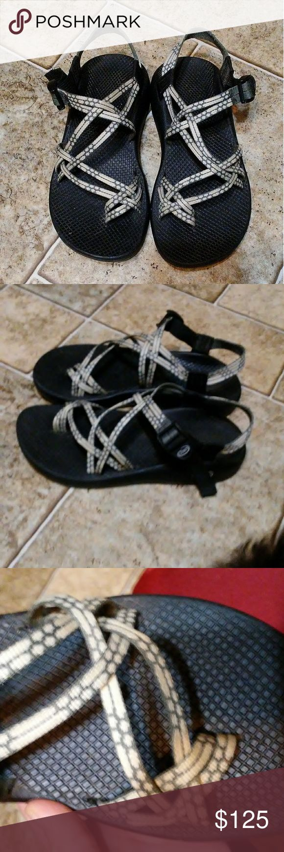 Chacos Has back and toe  straps. Tan and brown color.will negotiate priceif reasonable These are my sister's and she needs to sale these were too big when she got them home and wore them and didn't like them how they fit her.  She wore them 2X they are like new!!! NO TRADES SELLING FOR MY SISTER Chaco Shoes Sandals