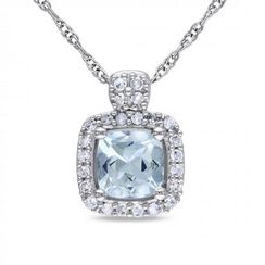 Diamore™ 1/2 CT Aquamarine and 1/10 CT Diamond Pendant in 10k White Gold