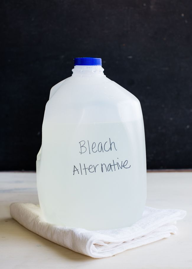 ALL-NATURAL BLEACH ALTERNATIVE Author: Lindsey Johnson Serves: 1 gallon   INGREDIENTS 1½ cups 3% hydrogen peroxide ½ cup lemon juice 12 cups...