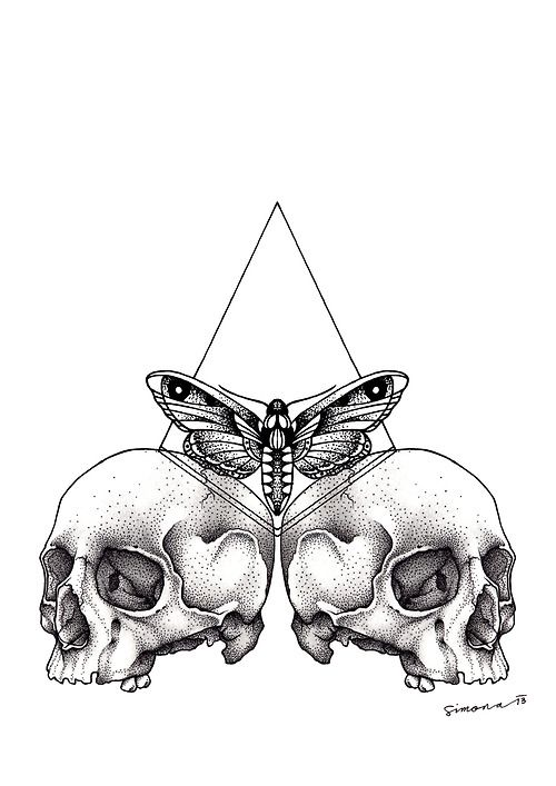 HIpster tattoo illustration. Triangle, moth, skulls. #rasspink #hipster #inked