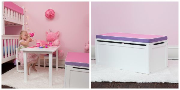 Pink & Purple Seat Pad for Toy Box - make it a bench.