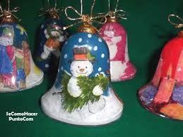 Resultado de imagen para como decorar campanas de icopor navideñas