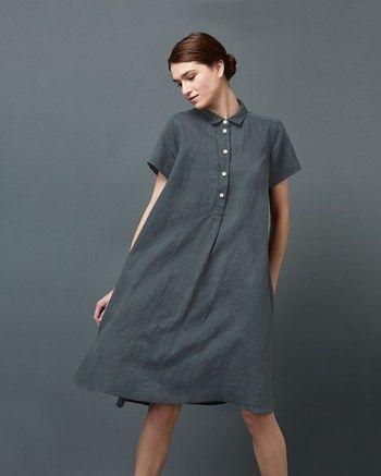 Women's Swingy Linen Shirt Dress